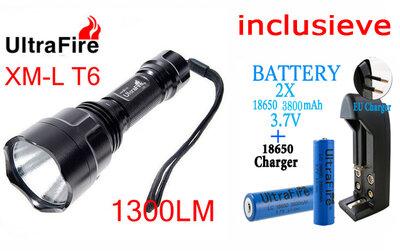 TrustFire 1300Lumens CREE XM-LT6 LED Zaklamp + 2x Accu+Lader