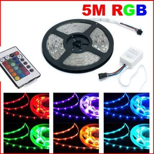 RGB 5 METER lichtstrip SMD 3528 + 24 TOETS AfstandBediening